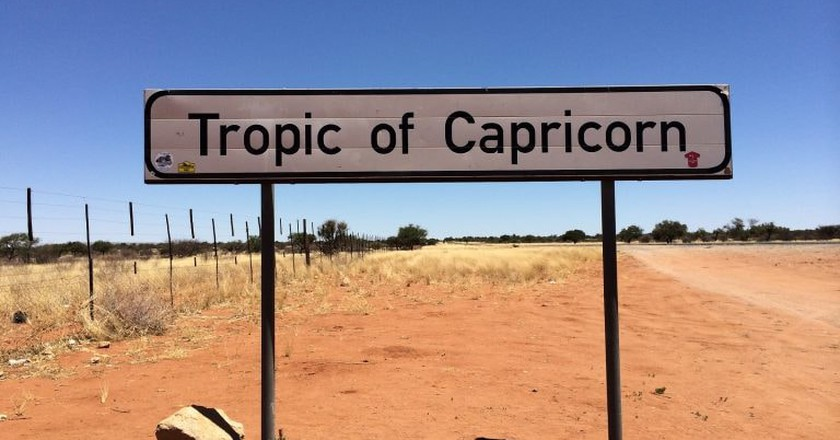 A post indicating the Tropic of Capricorn in the southern region of Namibia
