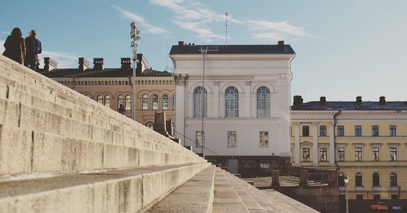Helsinki city centre in pastel colours.