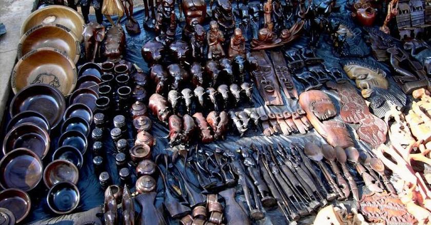Wood carvings on sale in Malawi