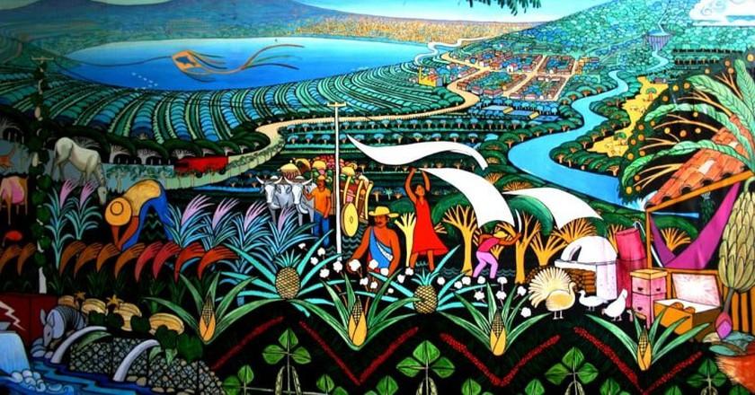 Nicaragua volcano mural