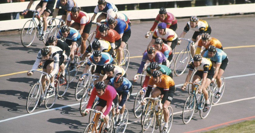 Cyclists race at Herne Hill Velodrome.