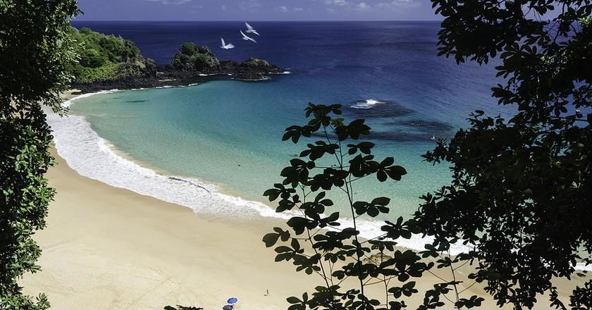 The view of Praia do Sancho, one of Fernando de Noronha's most beautiful beaches