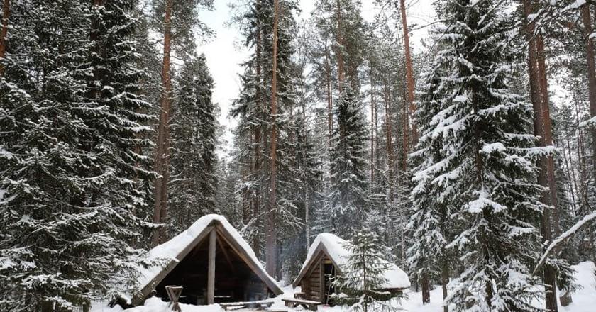 Rovaniemi cabins in winter.