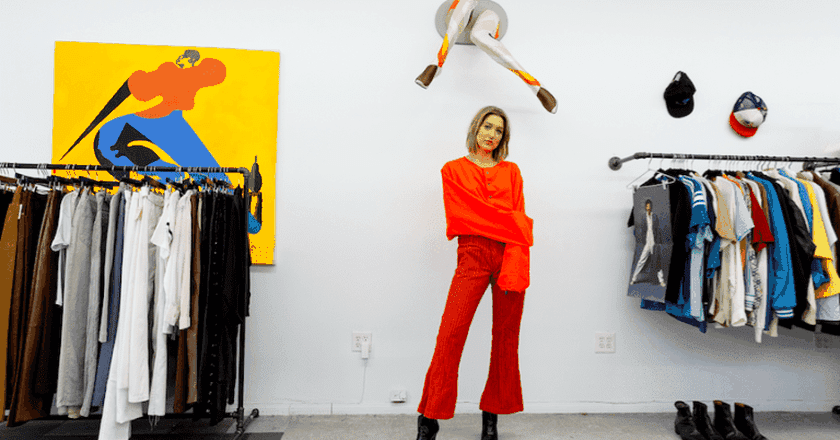 MacKenzie Crawford in her Los Angeles vintage boutique, Babes on Legs