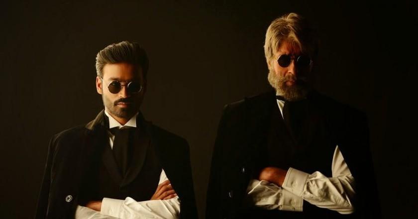 Actor Dhanush (Left) alongside veteran actor Amitabh Bachchan in a still from his last Bollywood release Shamitabh