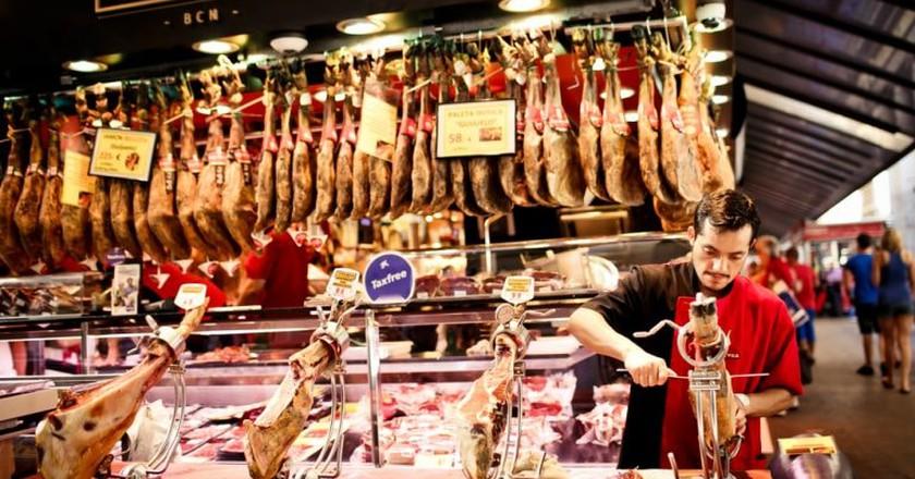 Famous La Boqueria market, Barcelona, Spain