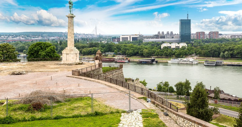 The Pobednik monument and fortress Kalemegdan in Belgrade, Serbia