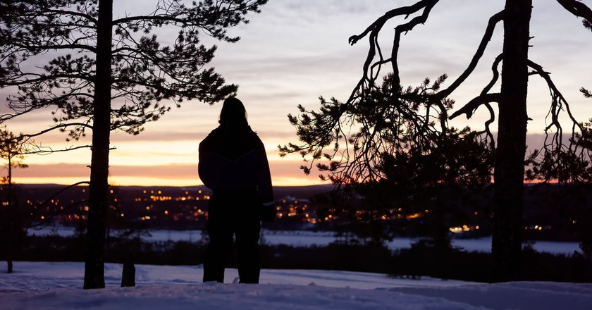 A view of Rovaniemi at sunset.