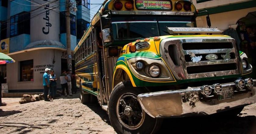 Chicken bus in San Pedro La Laguna, Guatemala
