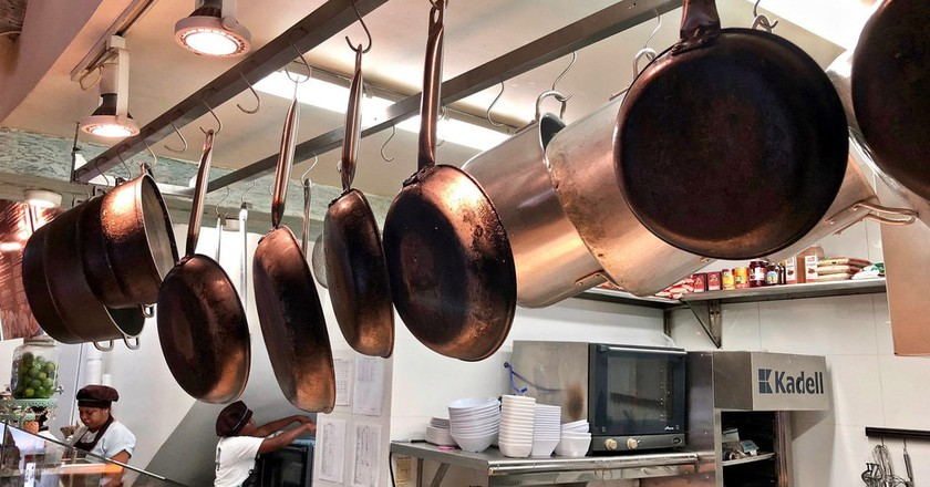 Pots and pans in a kitchen in Cartagena