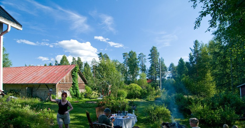 A summer barbecue at a Finnish cottage.