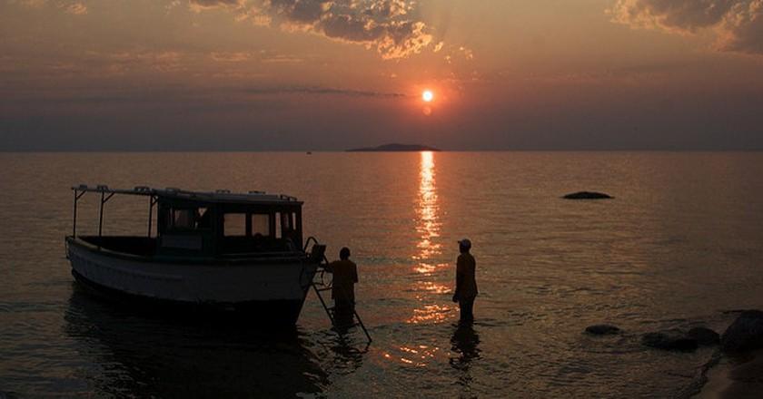Fishermen at sunset on Lake Malawi