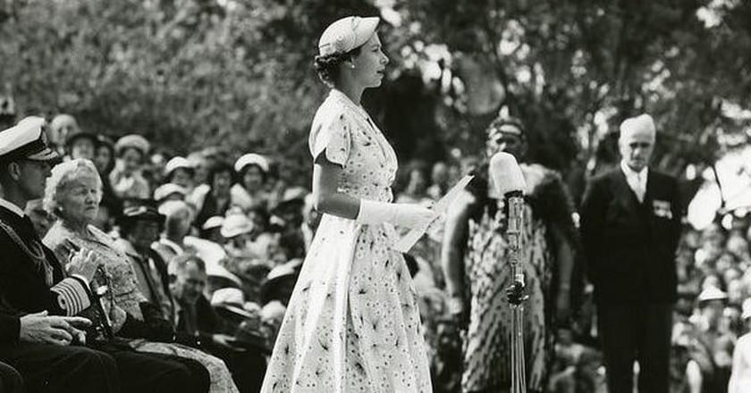 Queen Elizabeth II in Waitangi, New Zealand (December 1953)
