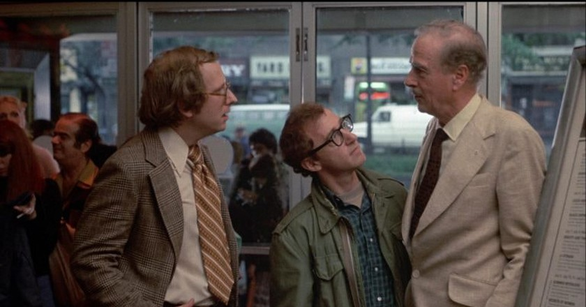 "Russell Horton, Woody Allen, and Marshall McLuhan in ""Annie Hall"""
