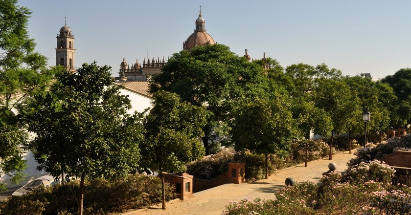 Alameda Vieja Park, Jerez de la Frontera, with the cathedral in the background