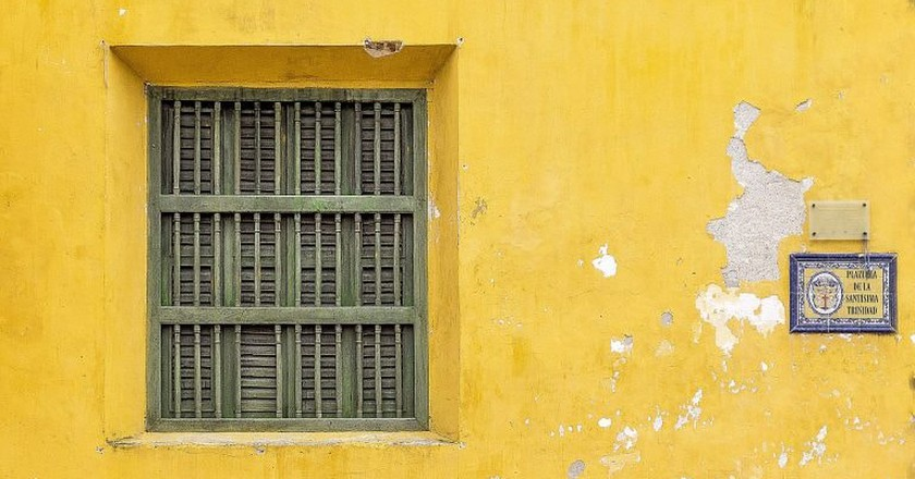 Brightly colored wall in Cartagena