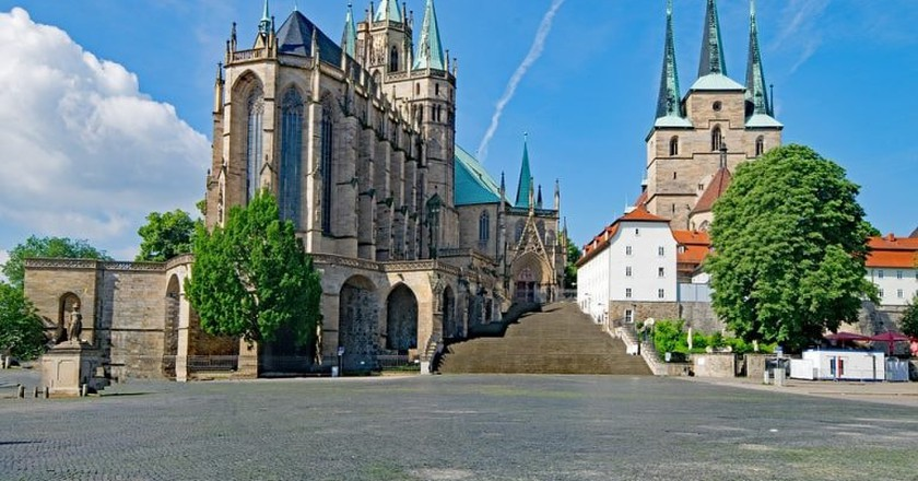 Erfurt Cathedral (left) and St. Severus Church