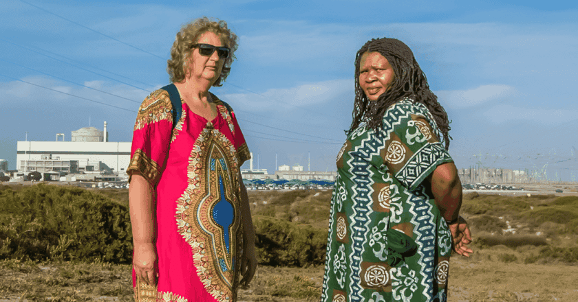 2018 Goldman Environmental Prize winners Liz McDaid and Makoma Lekalakala near the Koeberg nuclear power station