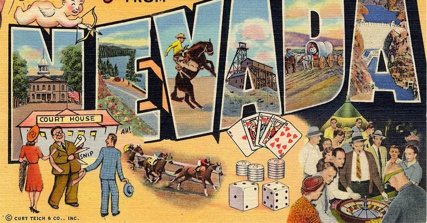 Vintage postcard of Nevada