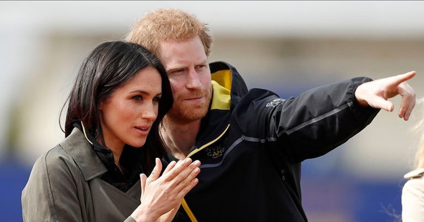 Britain's Prince Harry and his fiancee Meghan Markle