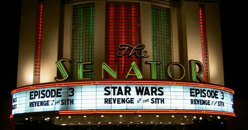 Façade of the historic Senator Theatre in Baltimore
