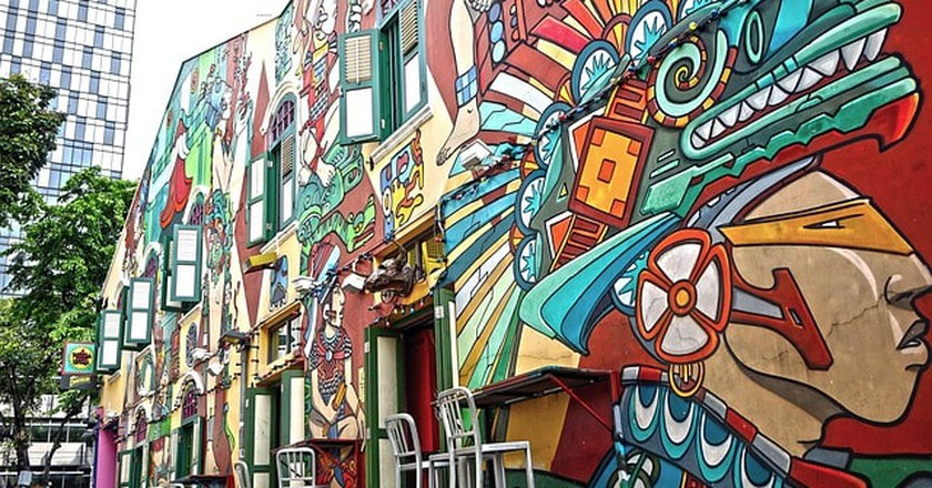 Haji Lane is decorated with artistic graffiti all over the street