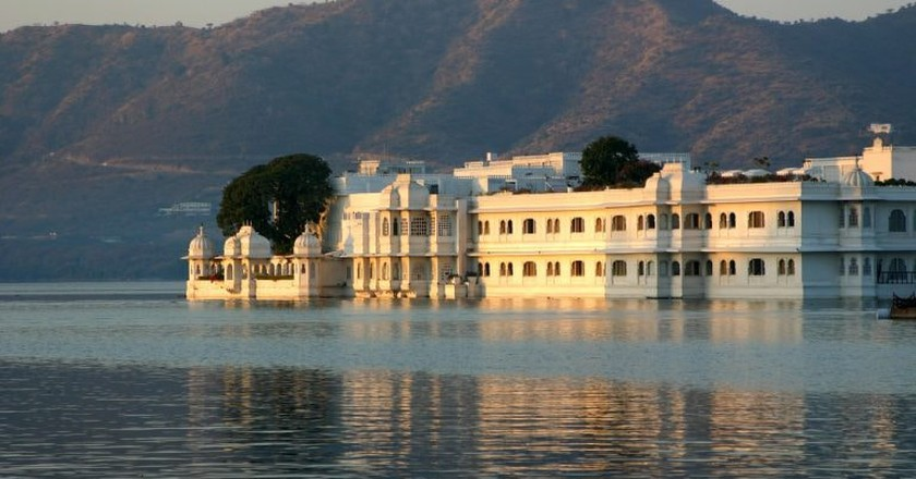 The Taj Lake Palace in Udaipur is located on an island on the city's famous Lake Pichola