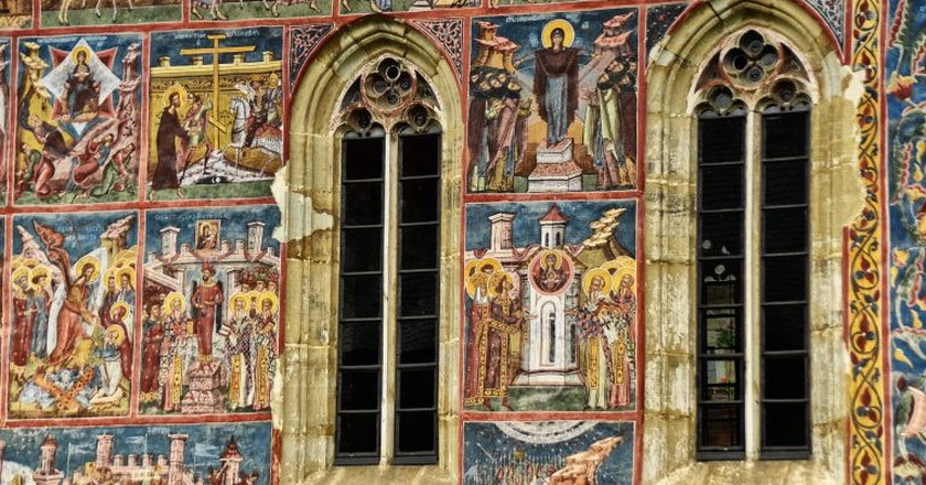 Beautiful frescoes at Voroneț Monastery