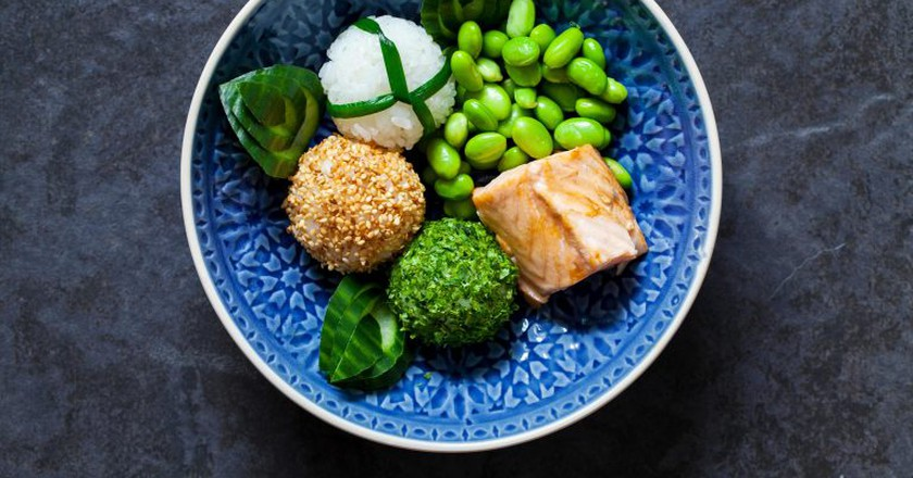 Onigiri sushi rice balls with salmon and soy beans are typical Japanese cuisine