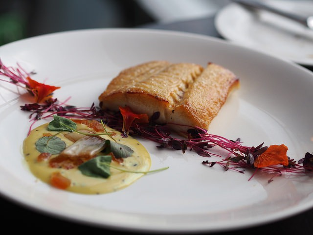 The Bath Priory offers roasted halibut in its dinner menu