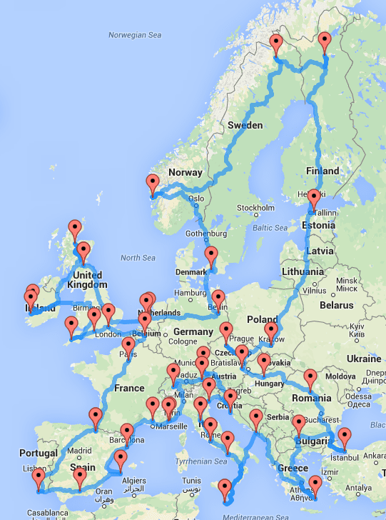 Paris On Europe Map.This Map Shows The Quickest And Ultimate Road Trip Across Europe
