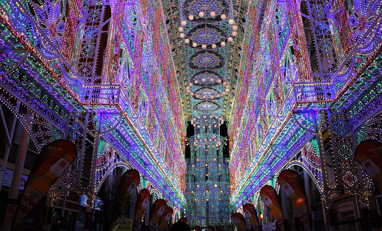 Light shows for Las Fallas in Ruzafa, Valencia