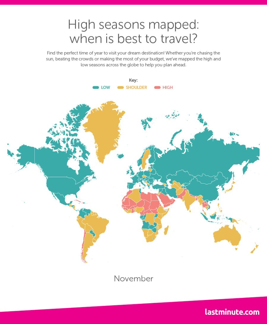 Time Map Of The World.This Map Shows You Exactly When To Travel To Each Country