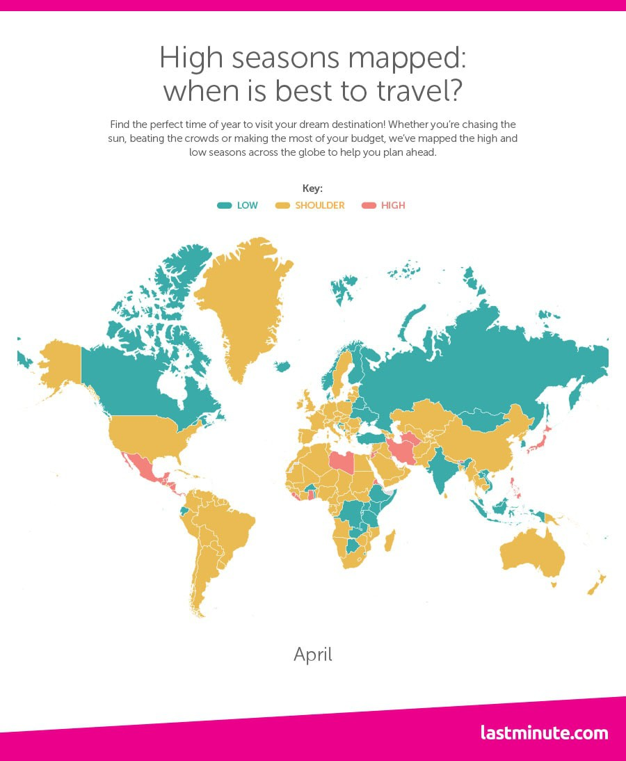 This Map Shows You Exactly When To Travel To Each Country - Where have you been travel map