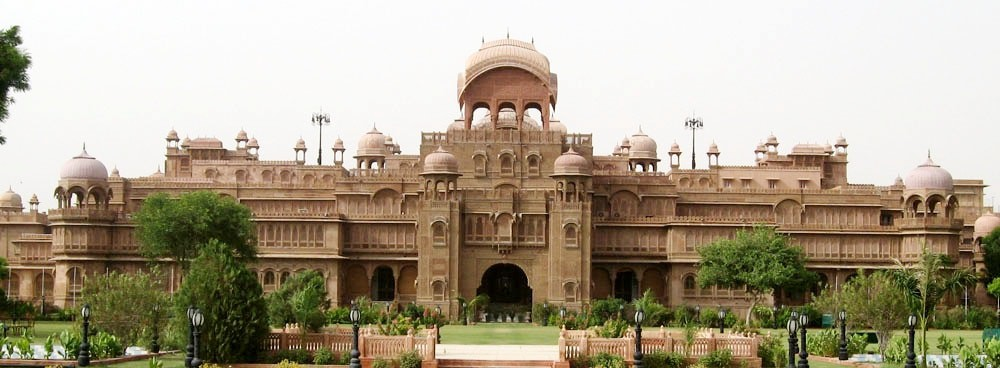 The Laxmi Niwas Palace in Bikaner is constructed entirely out of red sandstone