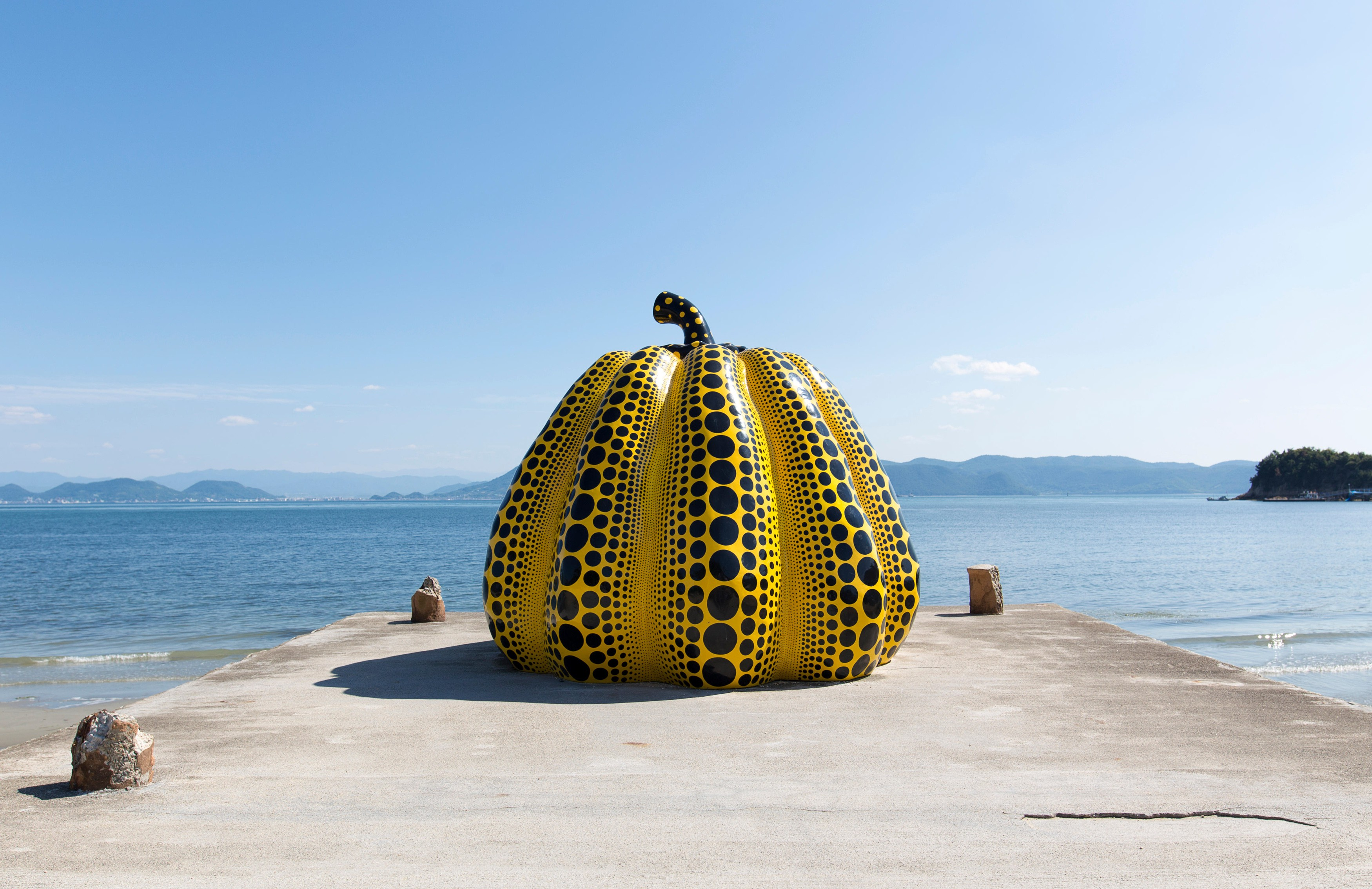 One of Yayoi Kusama's giant 'Pumpkin' sculptures is on display in Naoshima