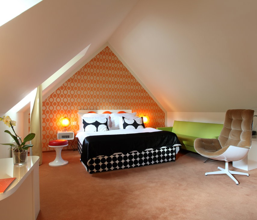 The rooms at Vintage Design Hotel Sax are all about bright colours and psychedelic patterns