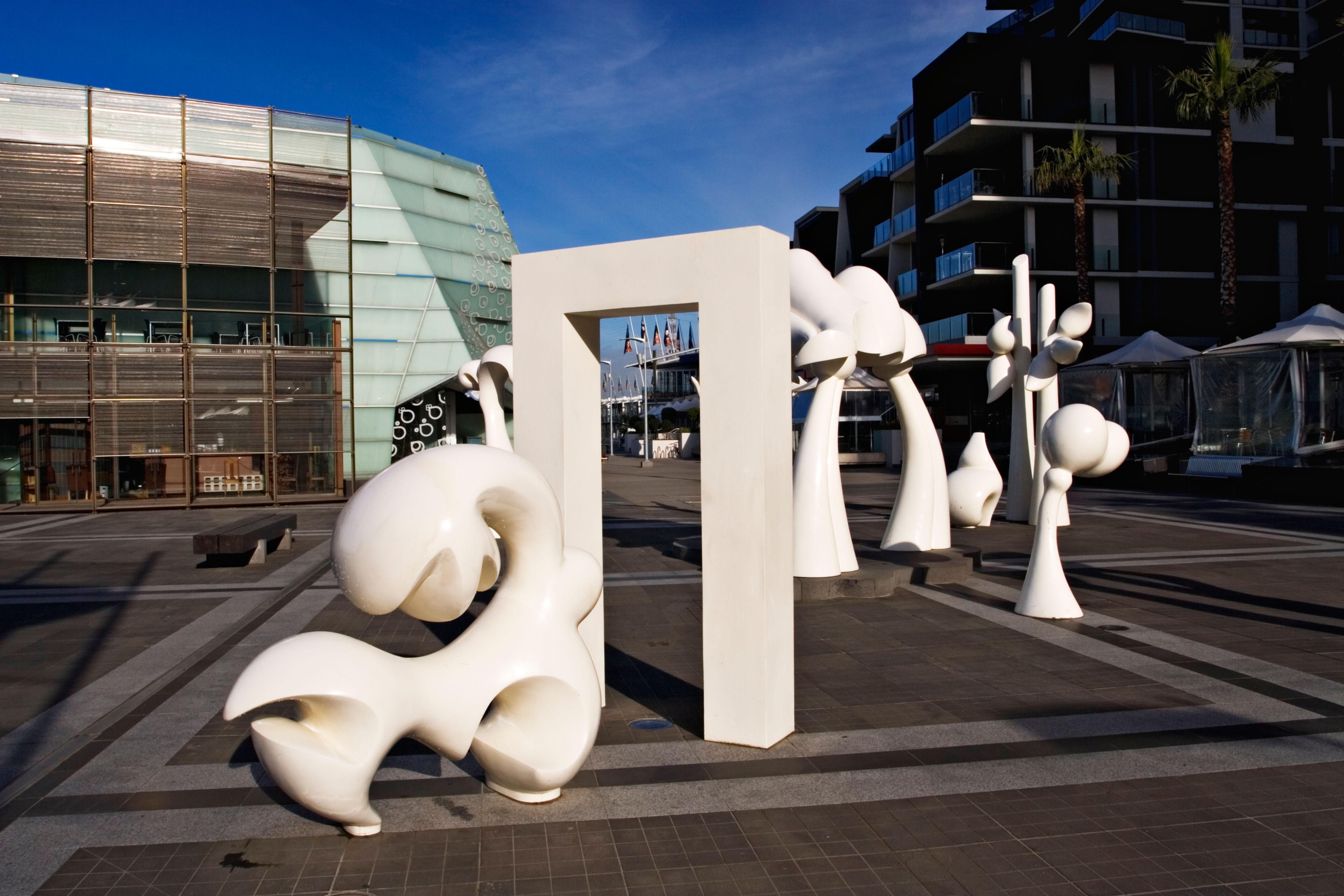 Sculptures in Melbourne Docklands in Melbourne Victoria Australia.
