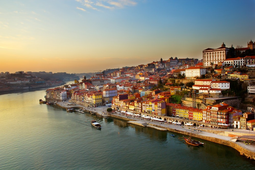 Old Town of Porto at sunset
