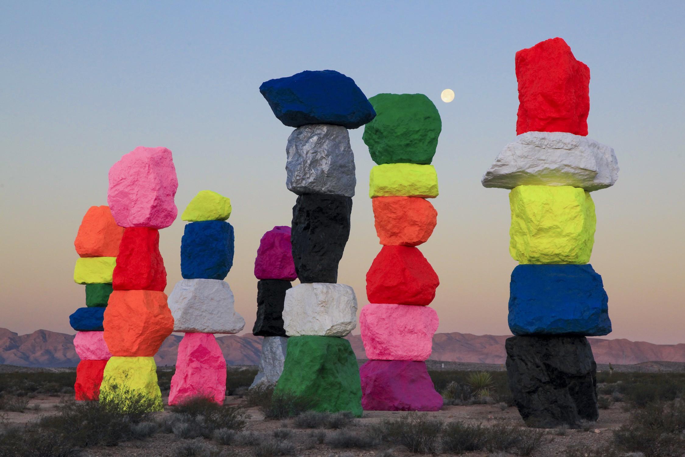Ugo Rondinone, Seven Magic Mountains, Las Vegas, Nevada, 2016. Photo by Gianfranco Gorgoni. Courtesy of Art Production Fund and Nevada Museum of Art.