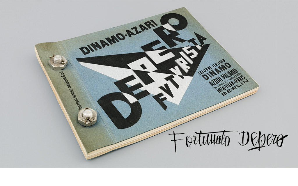 Pages and spreads from Depero Futurista, Dinamo-Azari, Milan, Italy, 1927, artist's book bound with bolts, 32 x 24.2 cm. © 2016 Artists Rights Society (ARS), NY / SIAE Rome  All archival images are used with permission of the Museum of Modern and Contemporary Art of Trento and Rovereto (MART), Archivio del '900, Fondo Fortunato Depero, except for the images of the Mercurio print shop, which appear courtesy of Marco Zamboni Tipografia Mercurio Rovereto.  Project images are courtesy of Designers & Books.