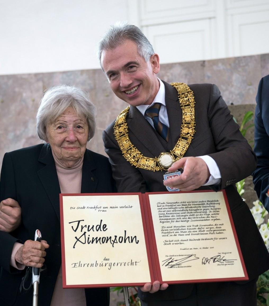 Trude Simon son, Mayor Feldmann  | © Heike Lyding