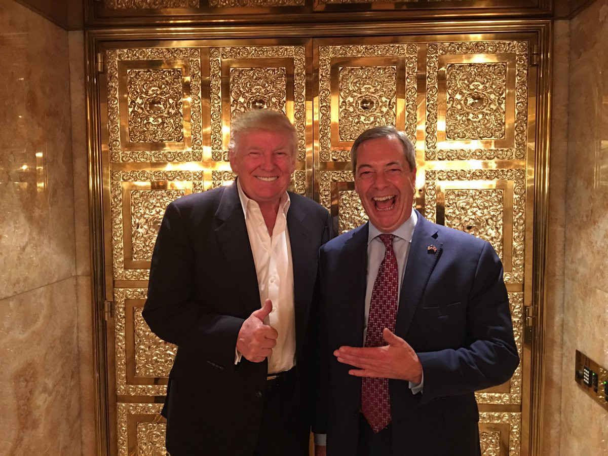 Donald Trump and Nigel Farage in what appears to be a Dubai brothel, tweeted on November 12th, 2016. Surreal. | @Nigel_Farage