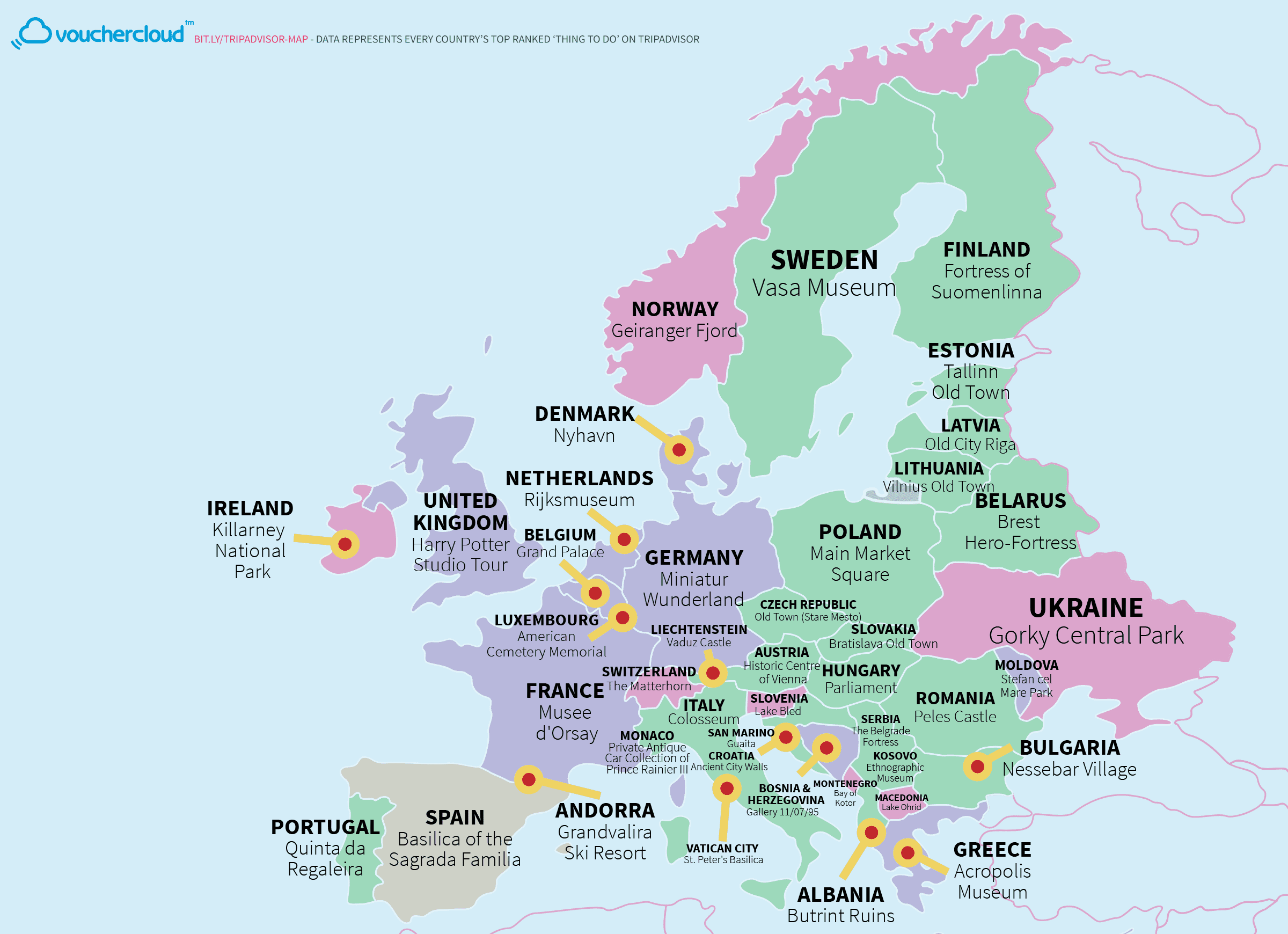 This Really Cool Map Shows The World's Top Tourist Destinations