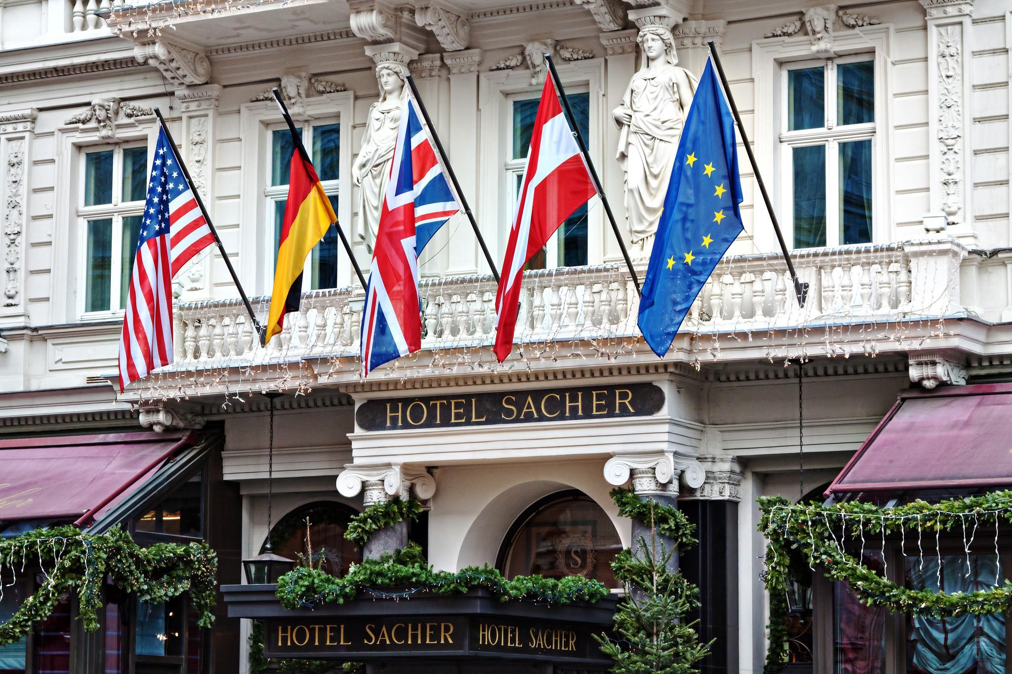 The exterior of Hotel Sacher in Vienna.  Dominik Bartsch - Flickr