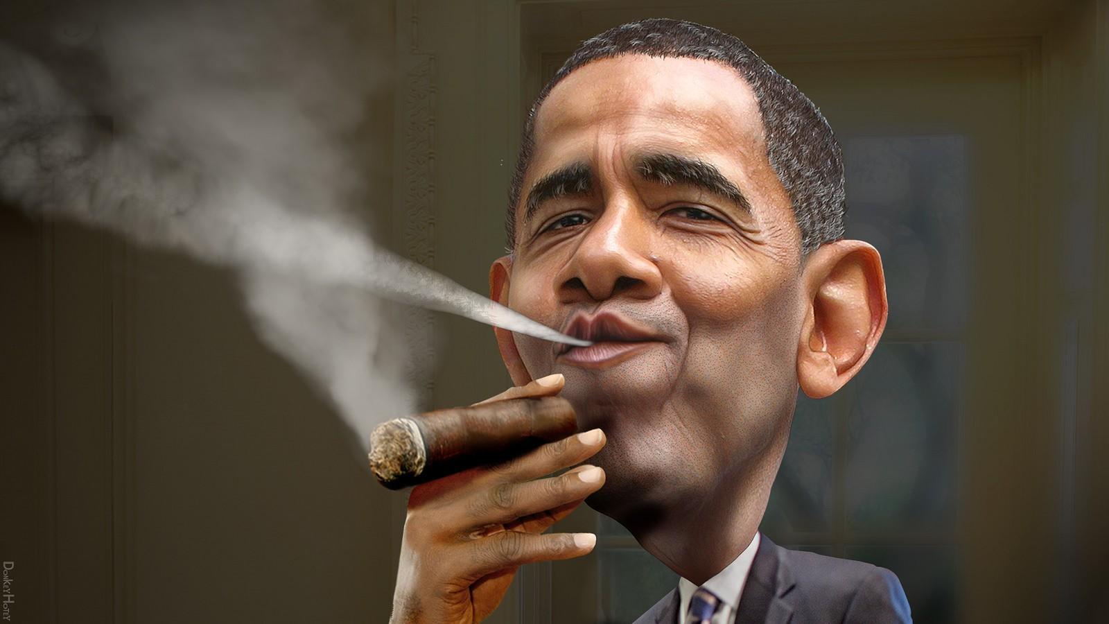 "Caricature of Barack Obama | © <a href=""https://www.flickr.com/photos/donkeyhotey/16018574316/"">  DonkeyHotey  / Flickr </a>"