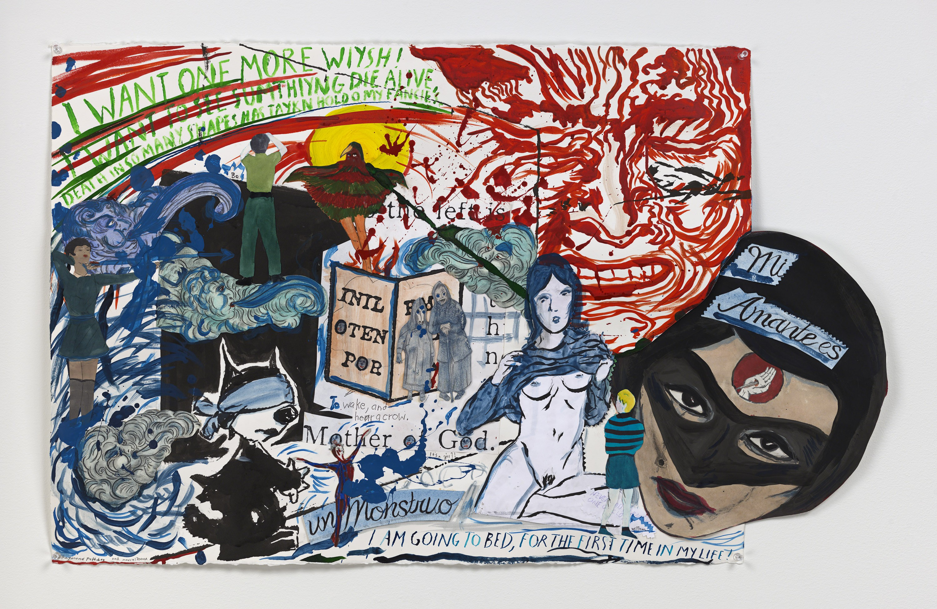 Marcel Dzama and Raymond Pettibon Mother of God, it's a girl, 2016, Courtesy David Zwirner, New York/London