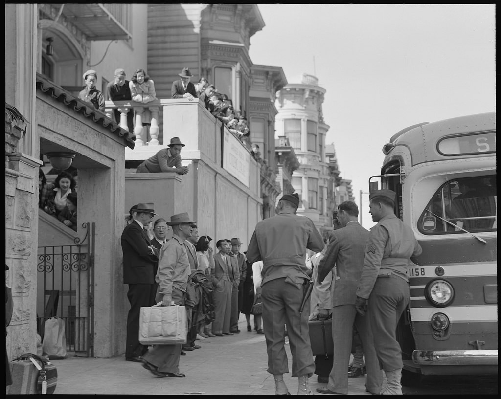 """<a href=""""https://www.flickr.com/photos/anchoreditions/31415654360/"""" target=""""_blank"""" rel=""""noopener noreferrer"""">Evacuation of Japanese from Japantown 