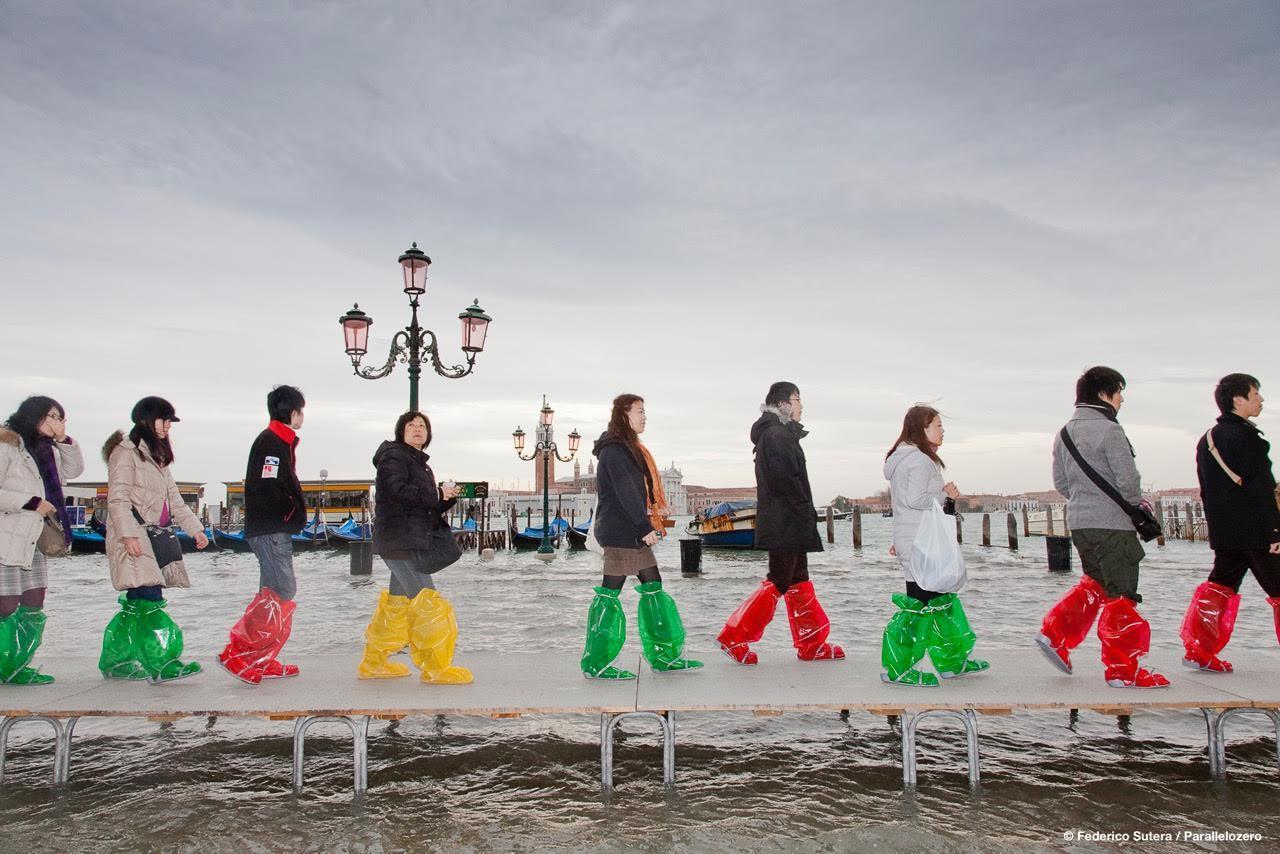 Tour group walks through high water | Courtesy of Federico Sutera