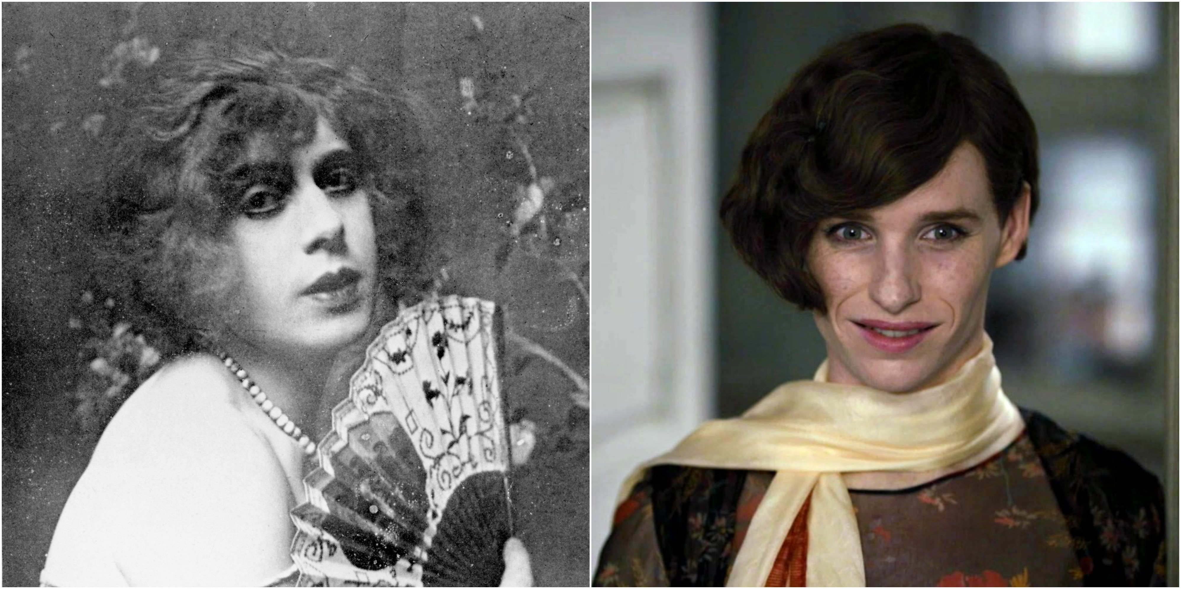 """Lili Elbe and Eddie Redmayne as Lili Elbe in """"The Danish Girl"""" 